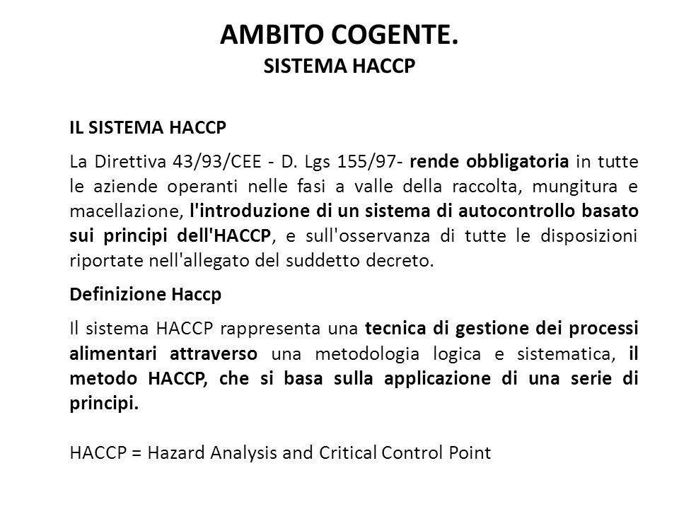 AMBITO COGENTE. SISTEMA HACCP