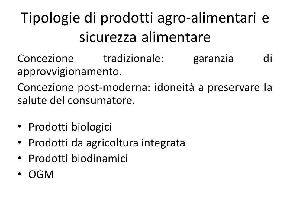 Tipologie di prodotti agro-alimentari e sicurezza alimentare