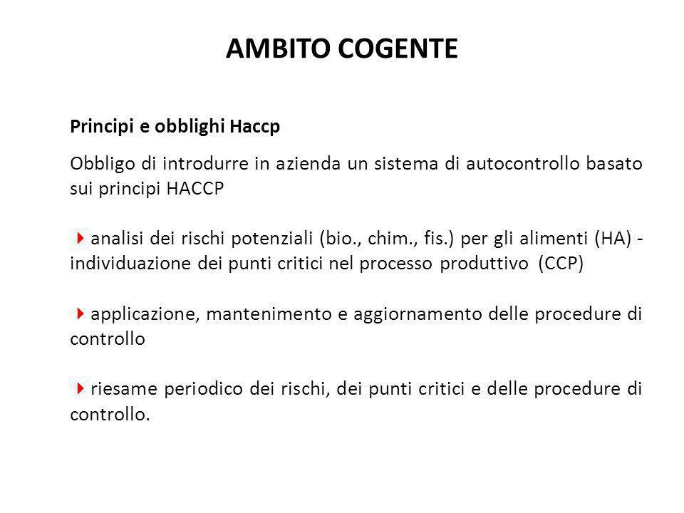 AMBITO COGENTE Principi e obblighi Haccp