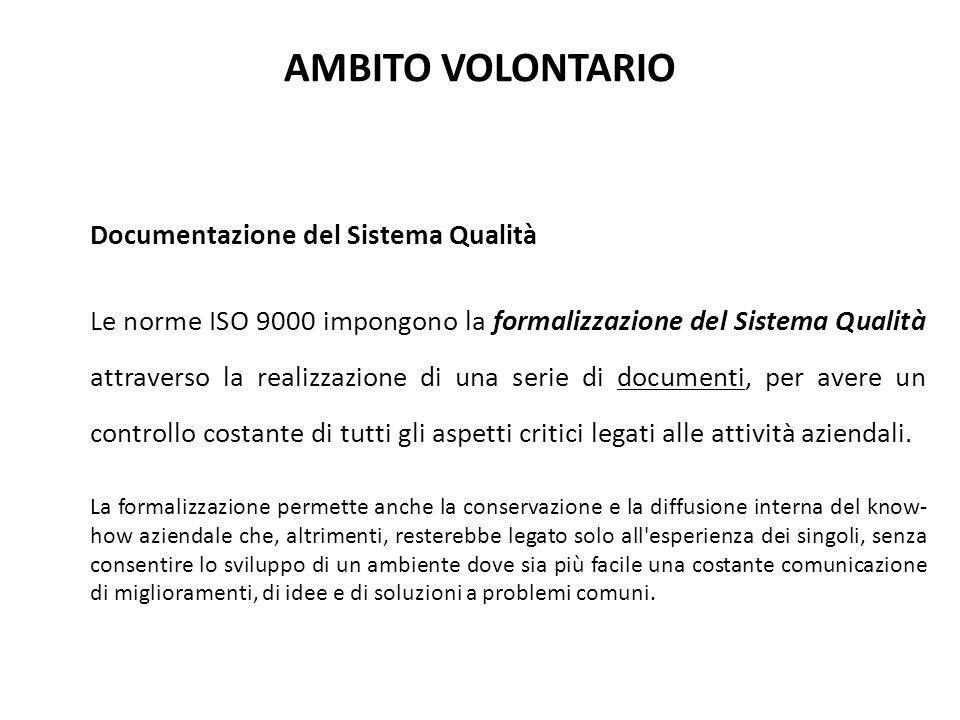 AMBITO VOLONTARIO Documentazione del Sistema Qualità