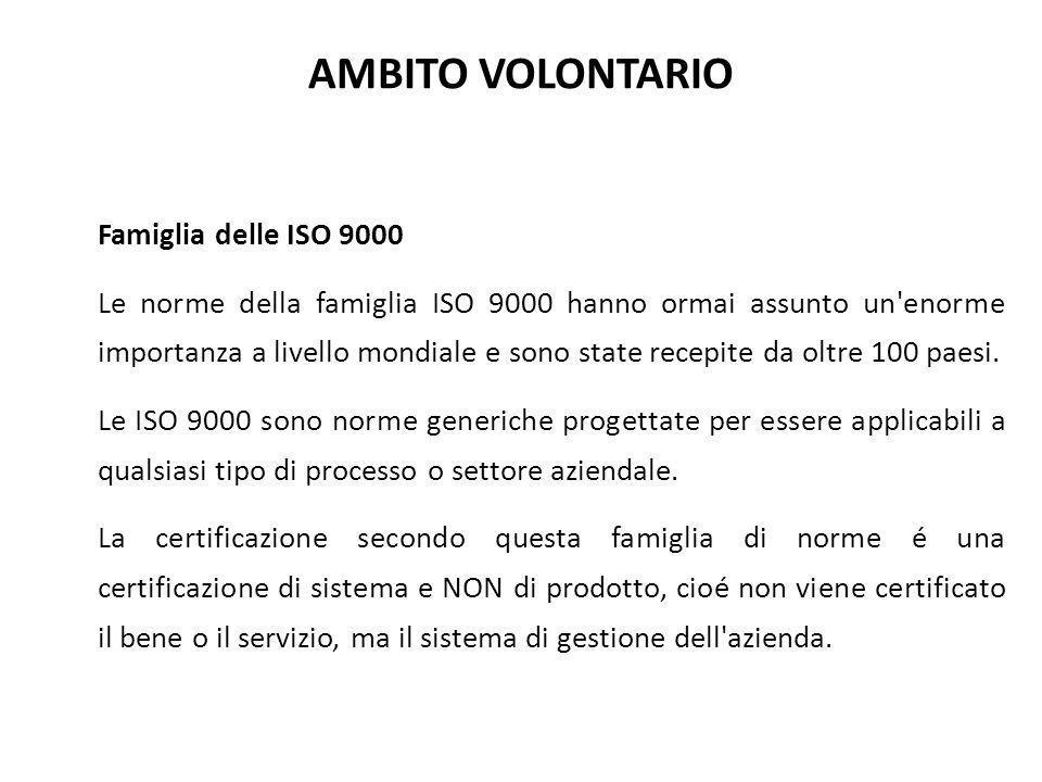 AMBITO VOLONTARIO Famiglia delle ISO 9000