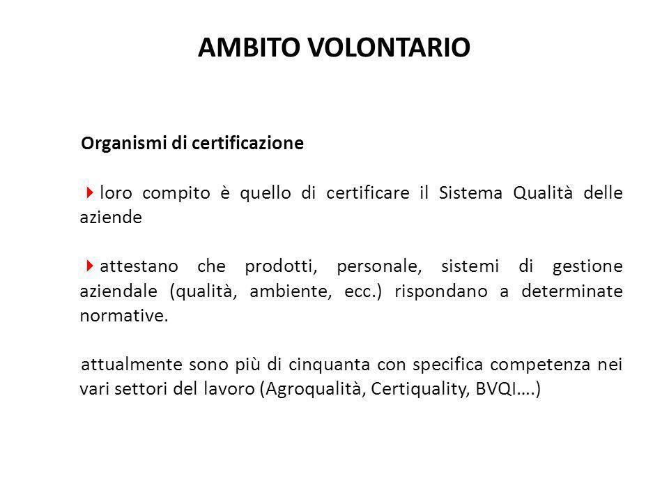 AMBITO VOLONTARIO Organismi di certificazione