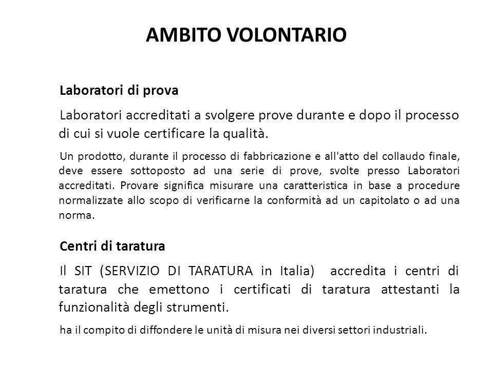 AMBITO VOLONTARIO Laboratori di prova