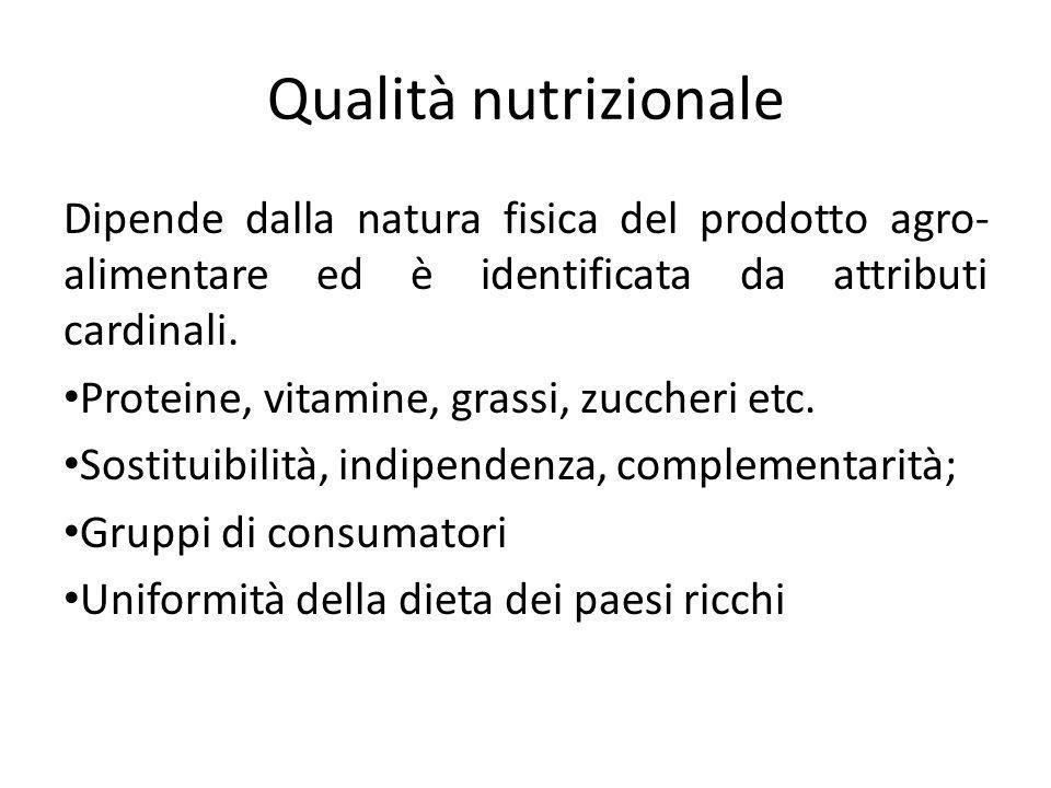 Qualità nutrizionale Dipende dalla natura fisica del prodotto agro-alimentare ed è identificata da attributi cardinali.