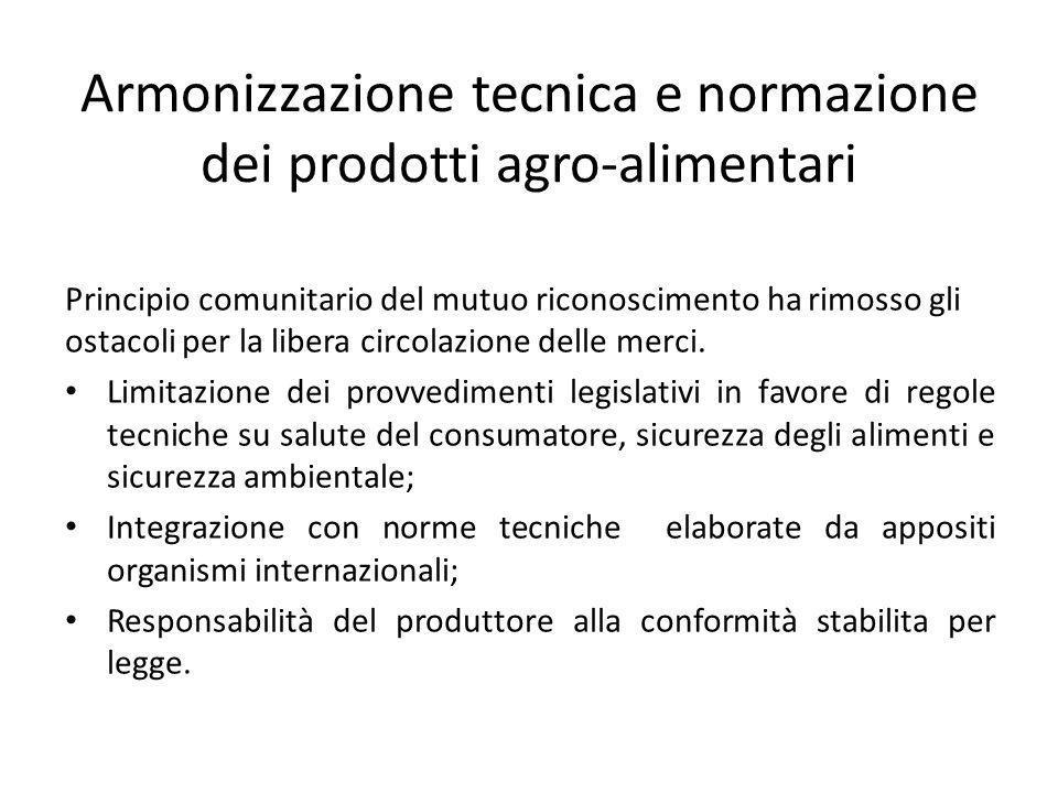 Armonizzazione tecnica e normazione dei prodotti agro-alimentari