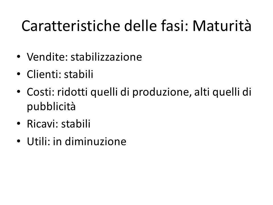 Caratteristiche delle fasi: Maturità