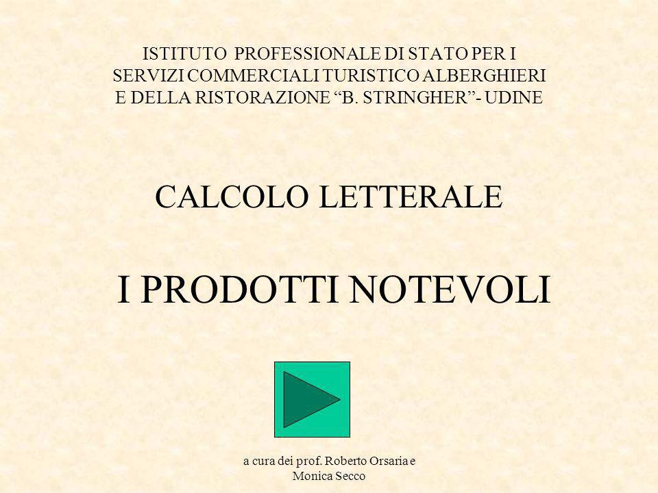 CALCOLO LETTERALE I PRODOTTI NOTEVOLI