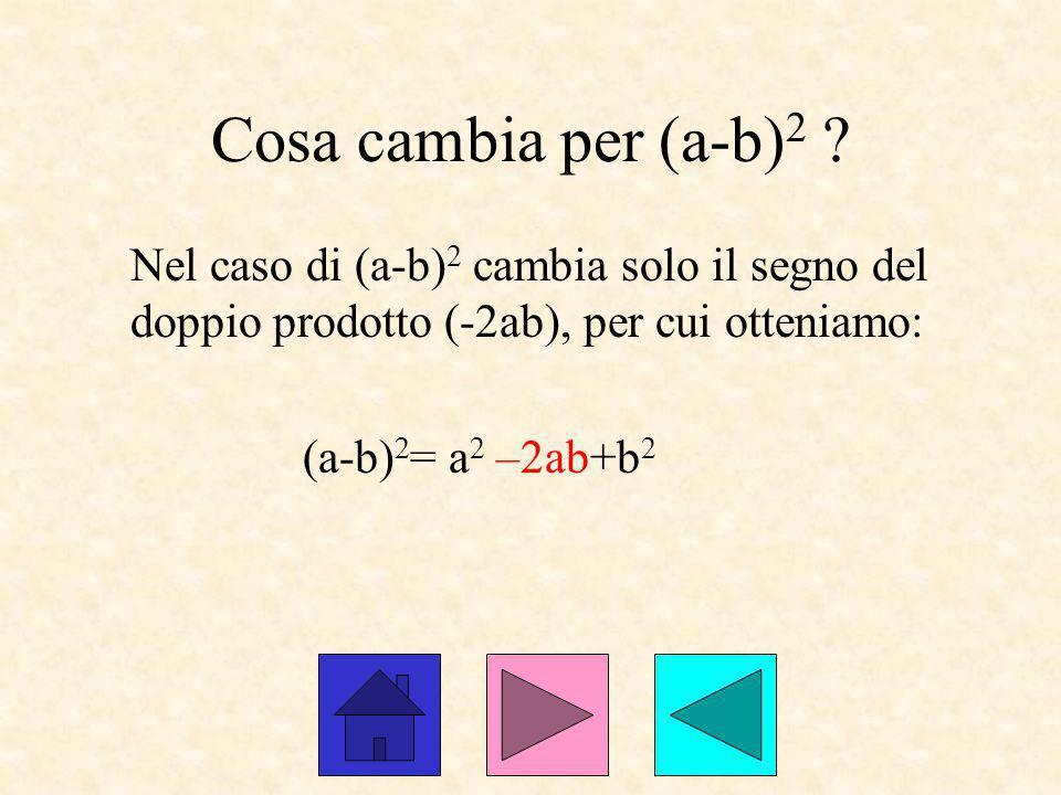 Cosa cambia per (a-b)2 Nel caso di (a-b)2 cambia solo il segno del doppio prodotto (-2ab), per cui otteniamo:
