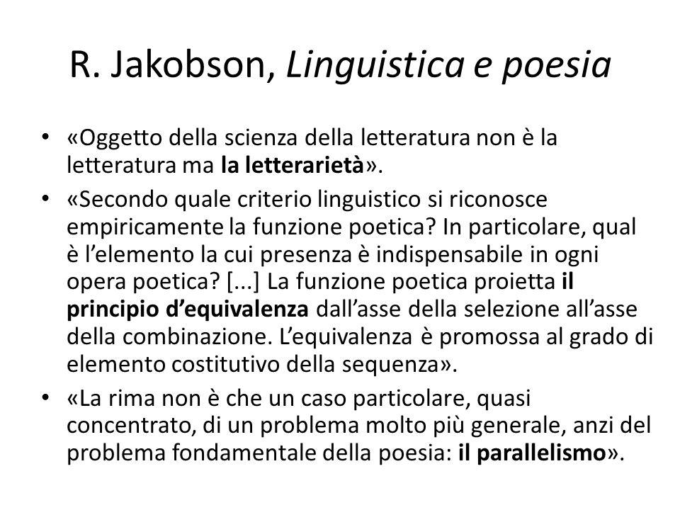 R. Jakobson, Linguistica e poesia