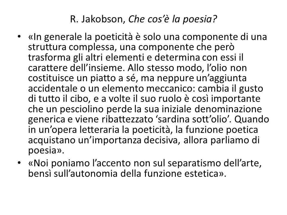 R. Jakobson, Che cos'è la poesia