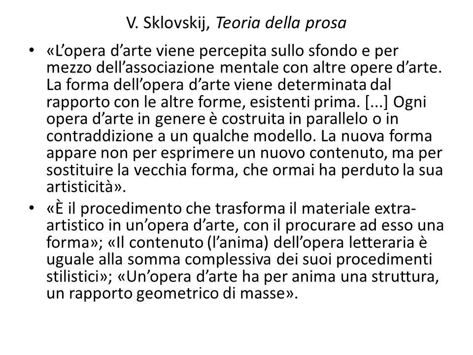 V. Sklovskij, Teoria della prosa