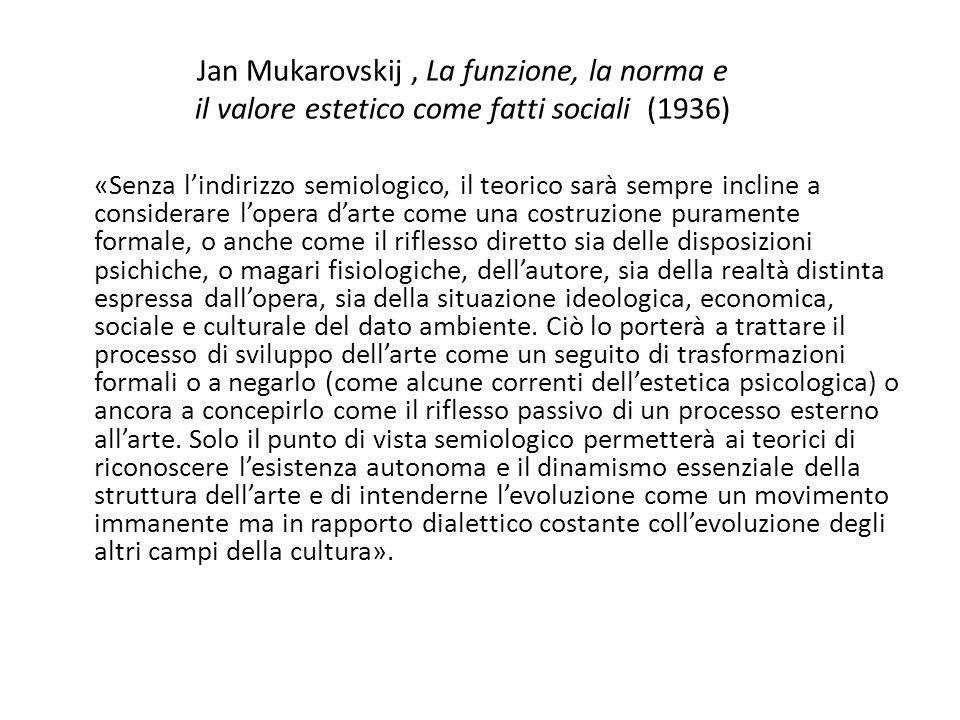 Jan Mukarovskij , La funzione, la norma e il valore estetico come fatti sociali (1936)