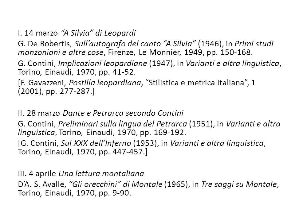 I. 14 marzo A Silvia di Leopardi