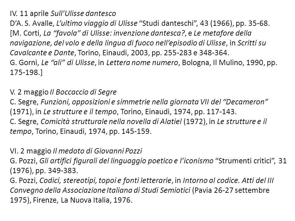 IV. 11 aprile Sull'Ulisse dantesco D'A. S
