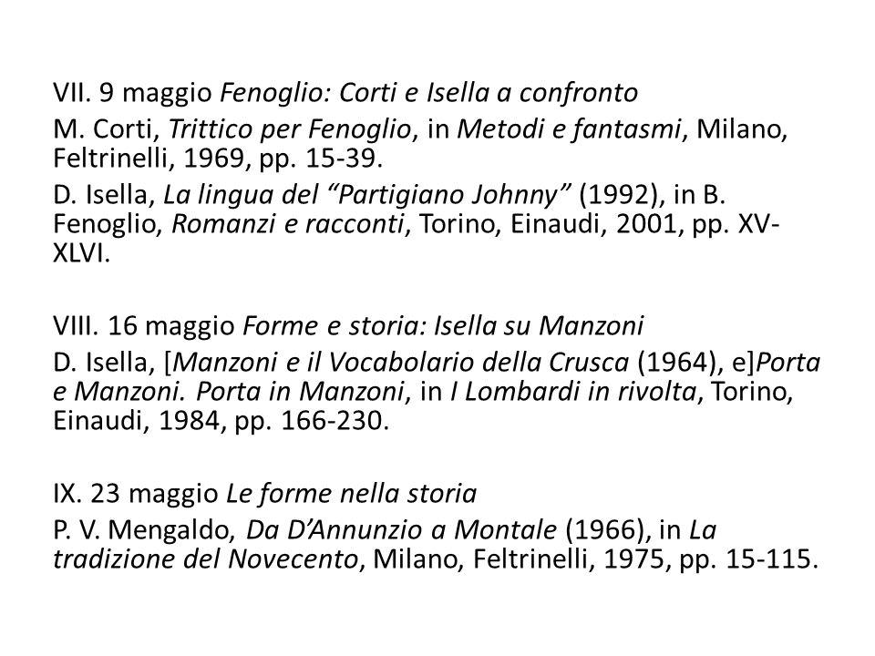 VII. 9 maggio Fenoglio: Corti e Isella a confronto M