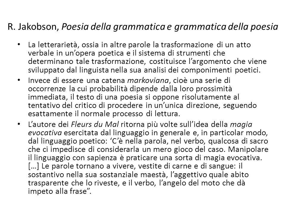 R. Jakobson, Poesia della grammatica e grammatica della poesia