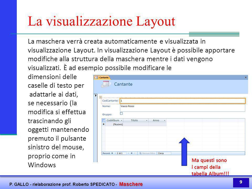 La visualizzazione Layout