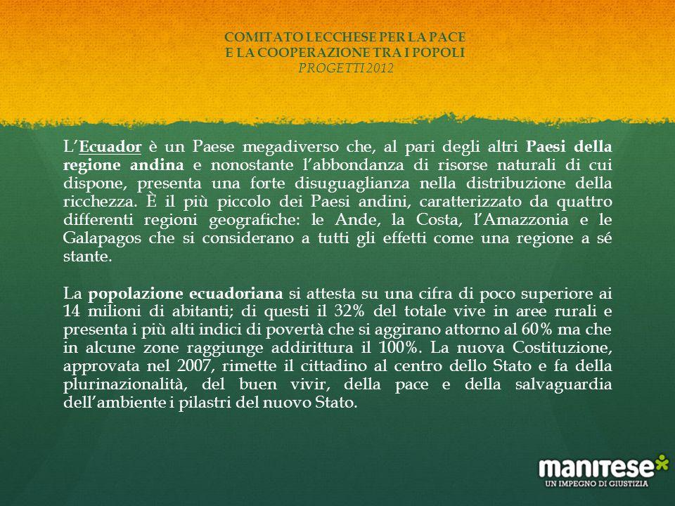 COMITATO LECCHESE PER LA PACE E LA COOPERAZIONE TRA I POPOLI PROGETTI 2012