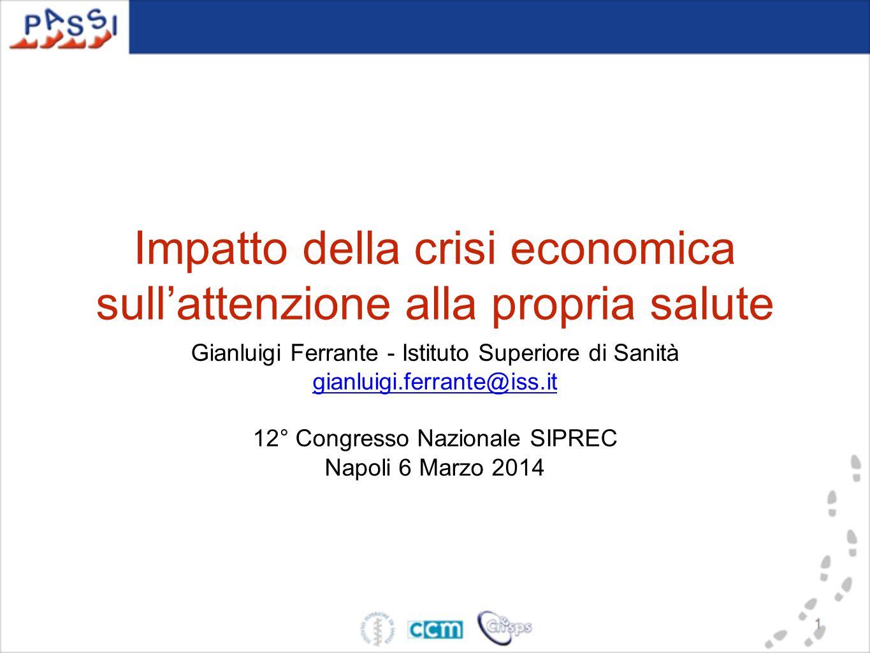 Impatto della crisi economica sull'attenzione alla propria salute