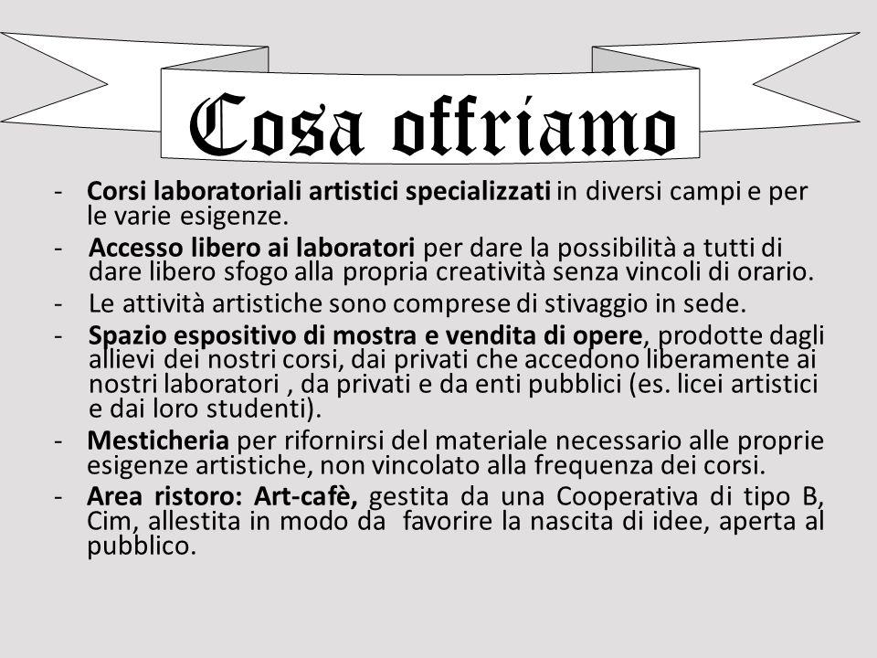 Cosa offriamo Corsi laboratoriali artistici specializzati in diversi campi e per le varie esigenze.