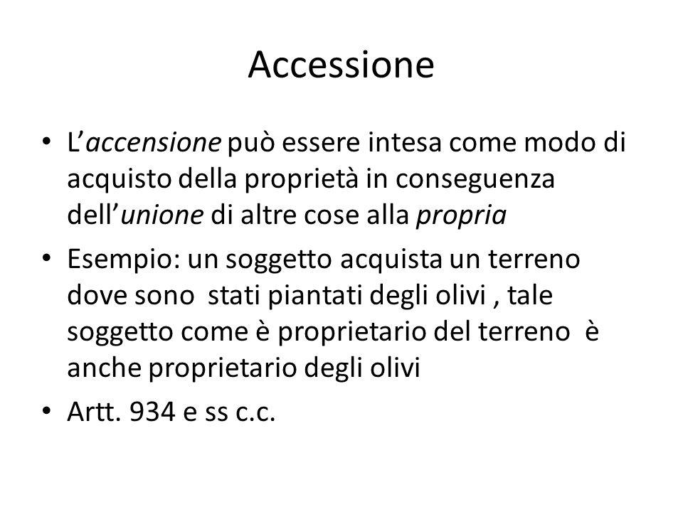 Accessione L'accensione può essere intesa come modo di acquisto della proprietà in conseguenza dell'unione di altre cose alla propria.