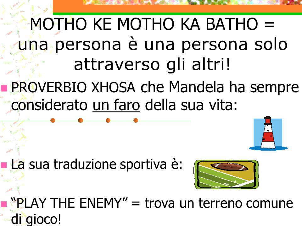 MOTHO KE MOTHO KA BATHO = una persona è una persona solo attraverso gli altri!