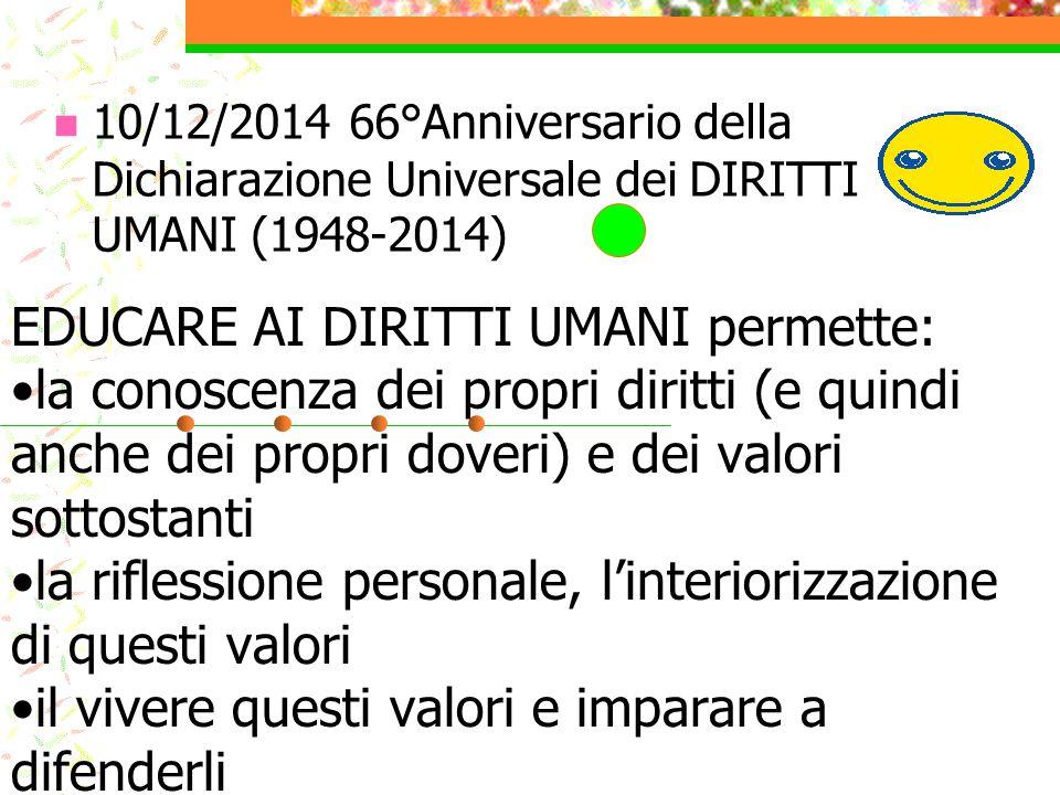 10/12/2014 66°Anniversario della Dichiarazione Universale dei DIRITTI UMANI (1948-2014)