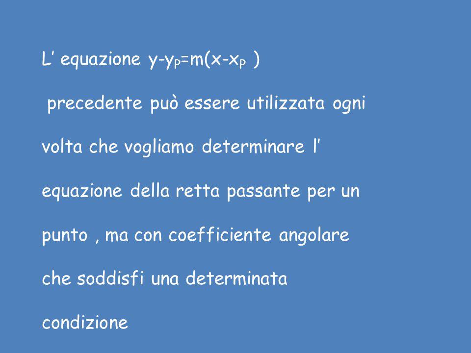 L' equazione y-yP=m(x-xP )