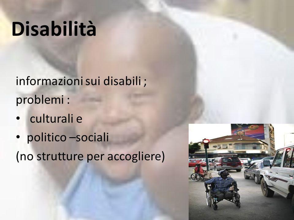Disabilità informazioni sui disabili ; problemi : culturali e