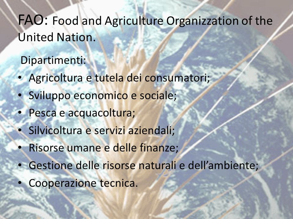 FAO: Food and Agriculture Organizzation of the United Nation.