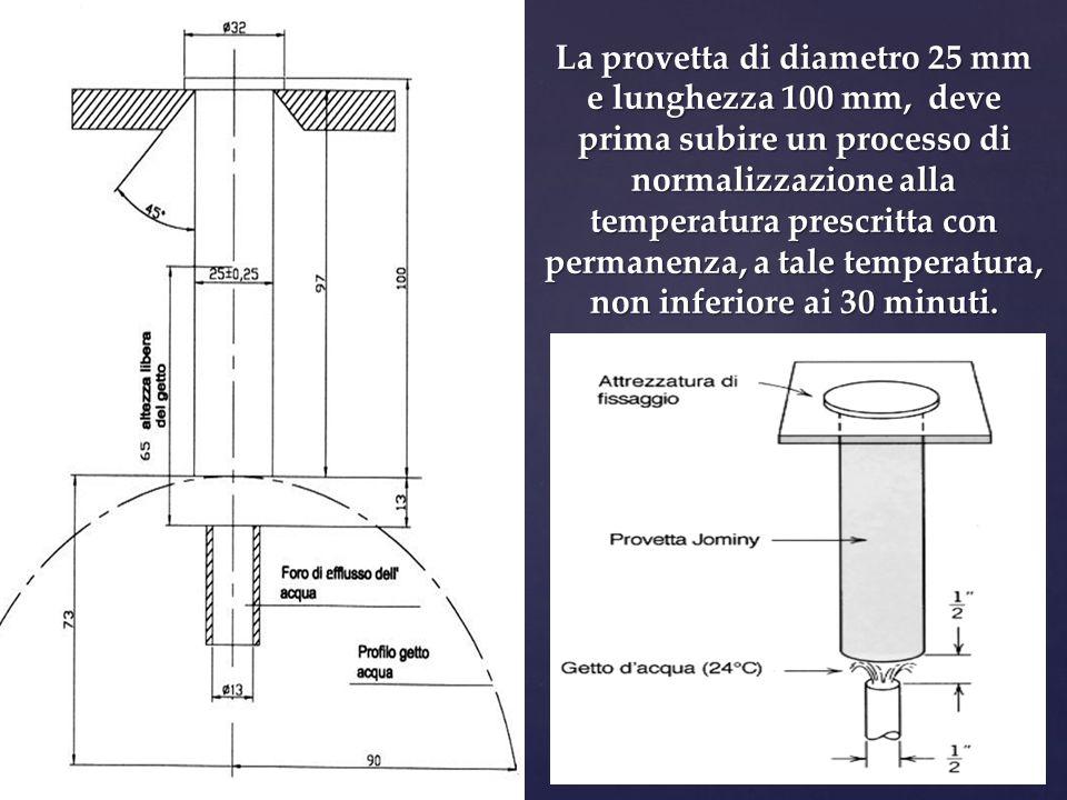 La provetta di diametro 25 mm e lunghezza 100 mm, deve prima subire un processo di normalizzazione alla temperatura prescritta con permanenza, a tale temperatura, non inferiore ai 30 minuti.