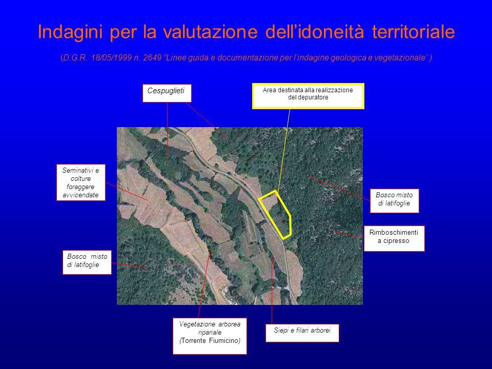 Indagini per la valutazione dell'idoneità territoriale (D. G. R