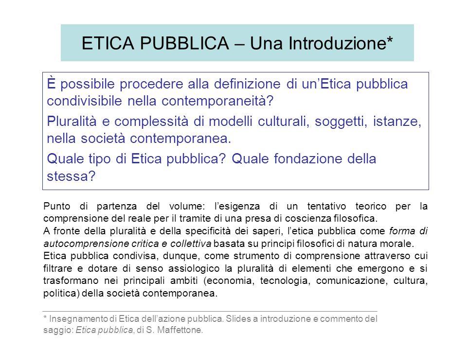ETICA PUBBLICA – Una Introduzione*