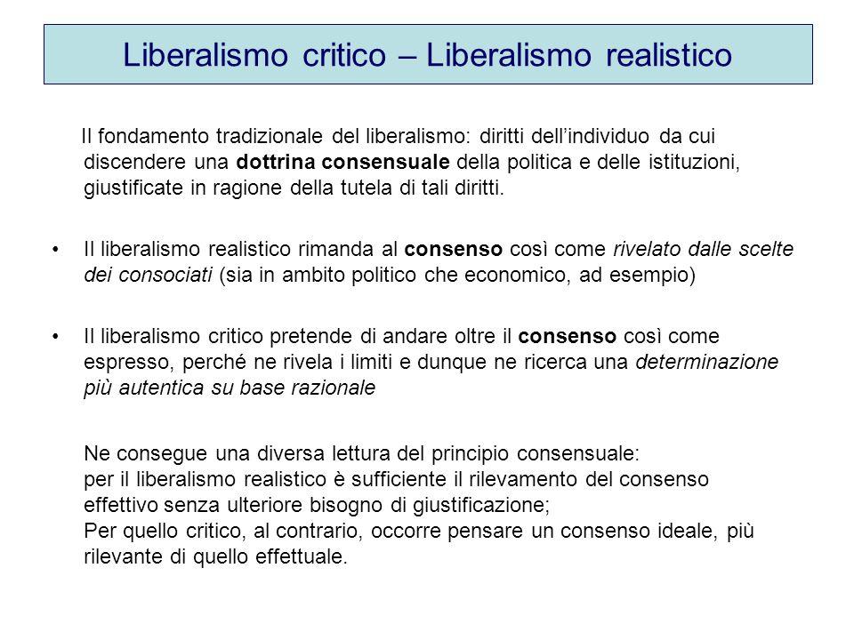 Liberalismo critico – Liberalismo realistico