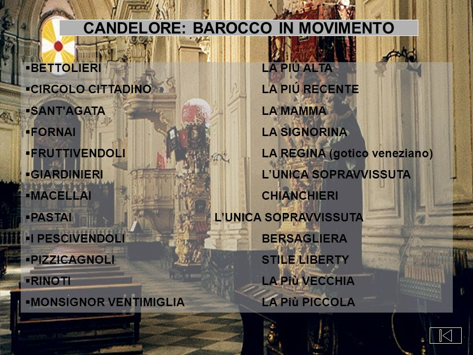 CANDELORE: BAROCCO IN MOVIMENTO