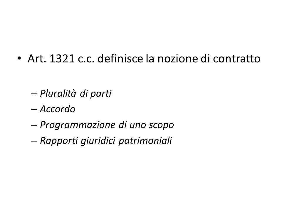 Art. 1321 c.c. definisce la nozione di contratto