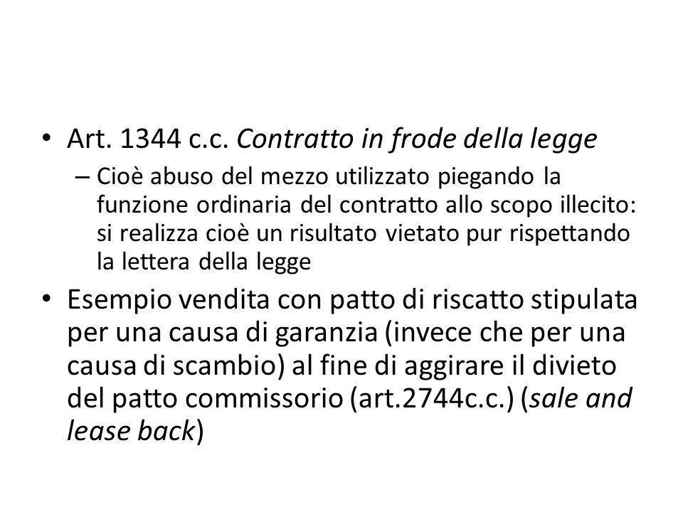 Art. 1344 c.c. Contratto in frode della legge