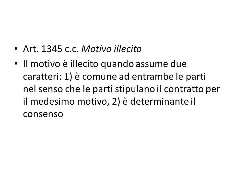Art. 1345 c.c. Motivo illecito