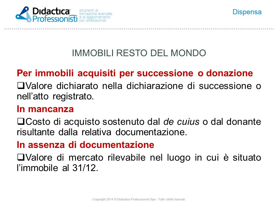 IMMOBILI RESTO DEL MONDO