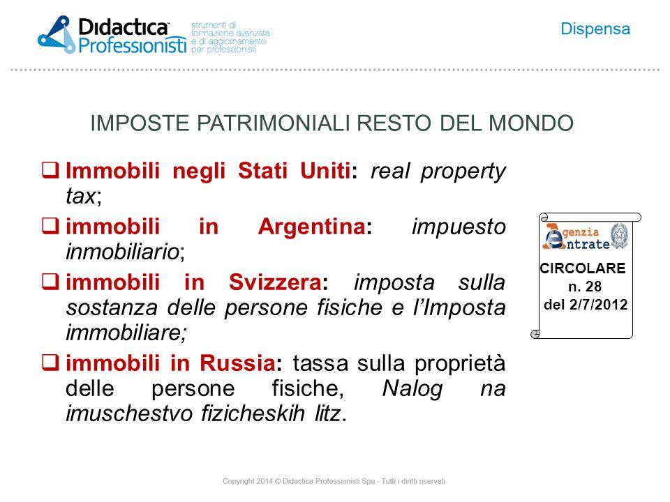 IMPOSTE PATRIMONIALI RESTO DEL MONDO