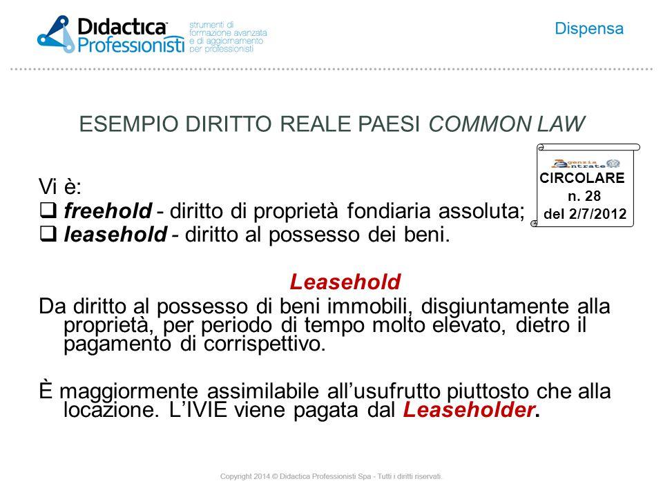 ESEMPIO DIRITTO REALE PAESI COMMON LAW