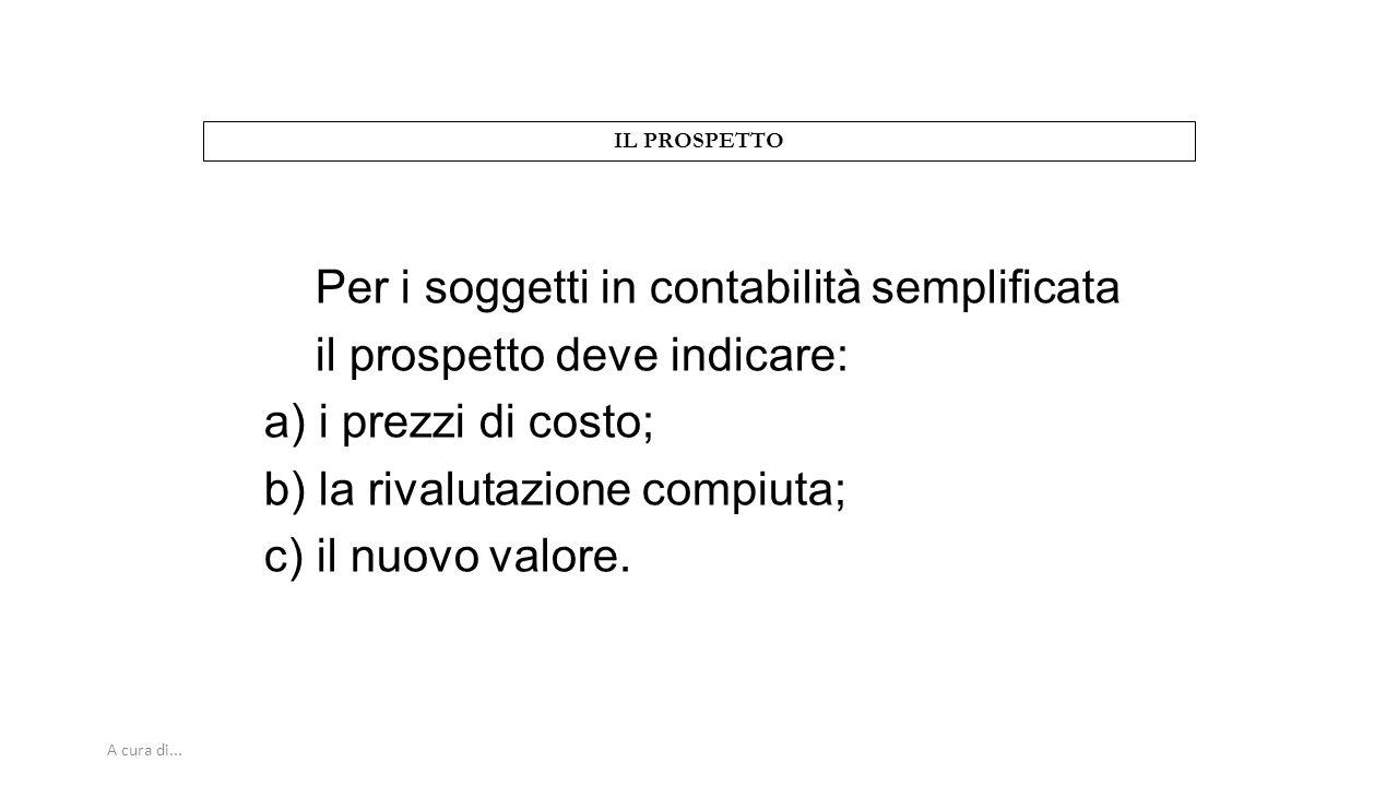 Per i soggetti in contabilità semplificata il prospetto deve indicare: