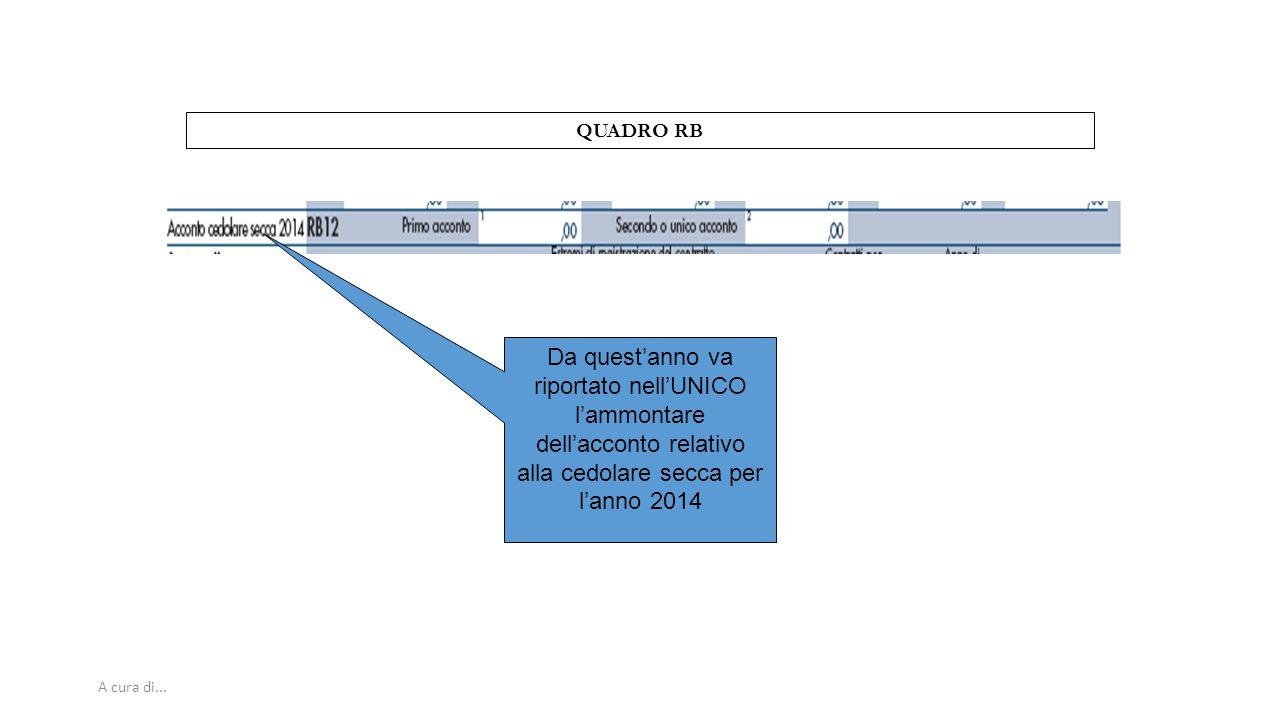 QUADRO RB Da quest'anno va riportato nell'UNICO l'ammontare dell'acconto relativo alla cedolare secca per l'anno 2014.