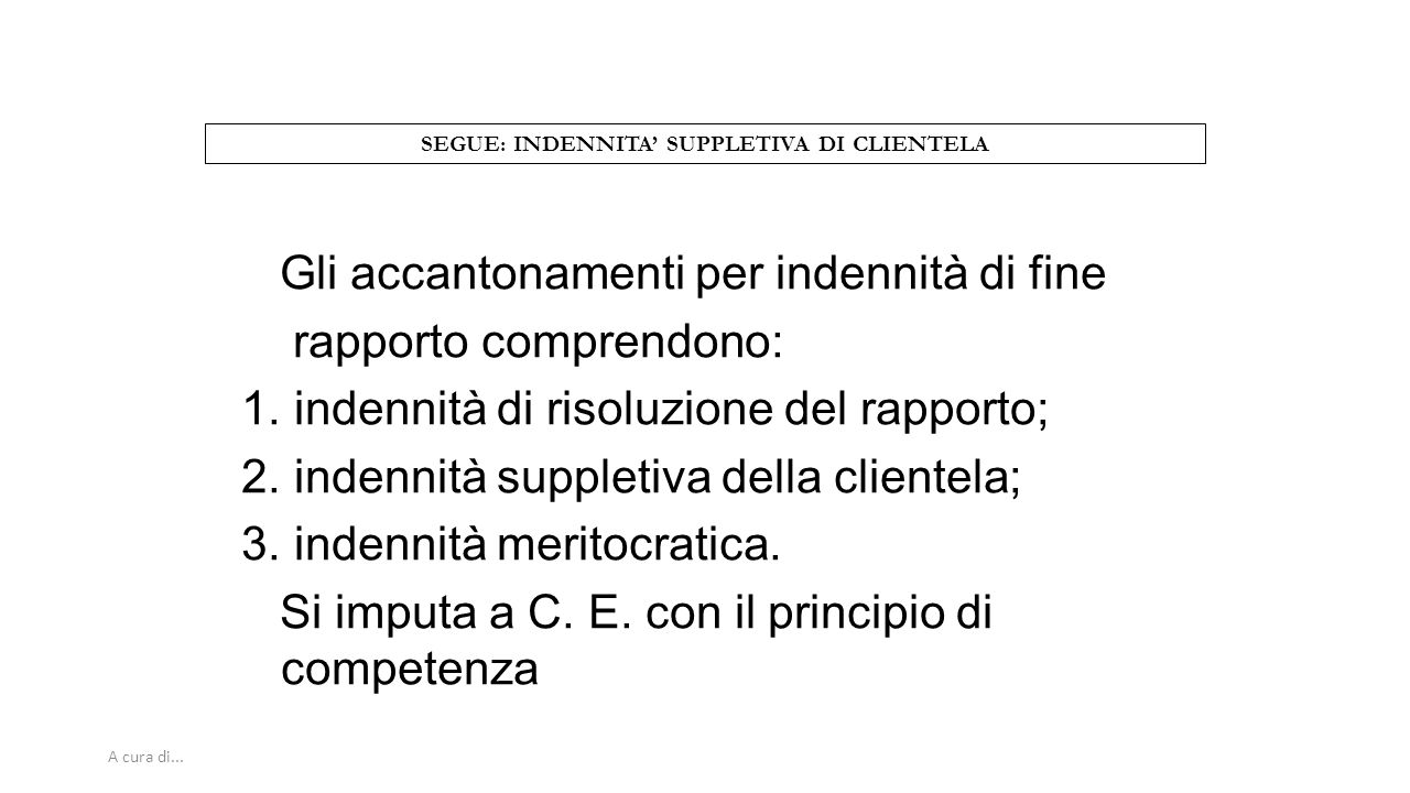 SEGUE: INDENNITA' SUPPLETIVA DI CLIENTELA