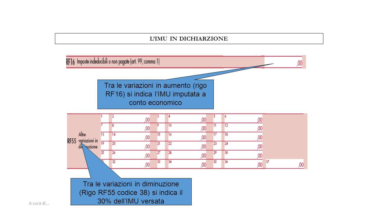 Tra le variazioni in diminuzione (Rigo RF55 codice 38) si indica il
