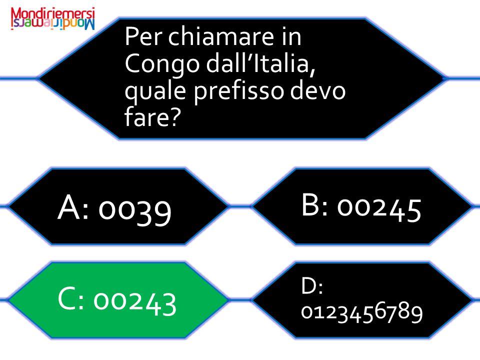 Per chiamare in Congo dall'Italia, quale prefisso devo fare