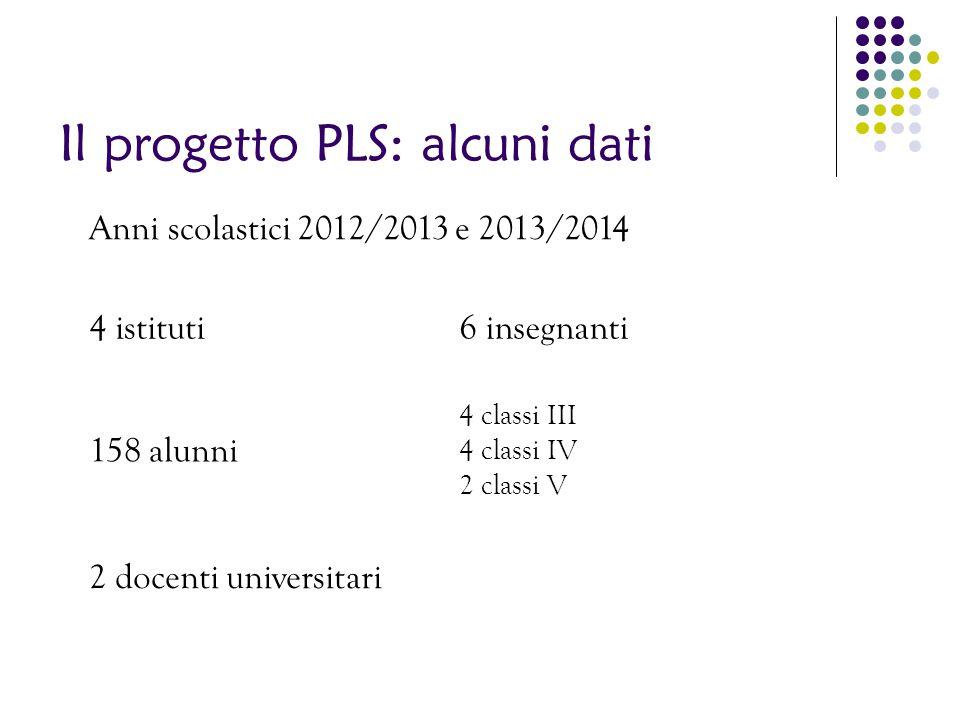 Il progetto PLS: alcuni dati
