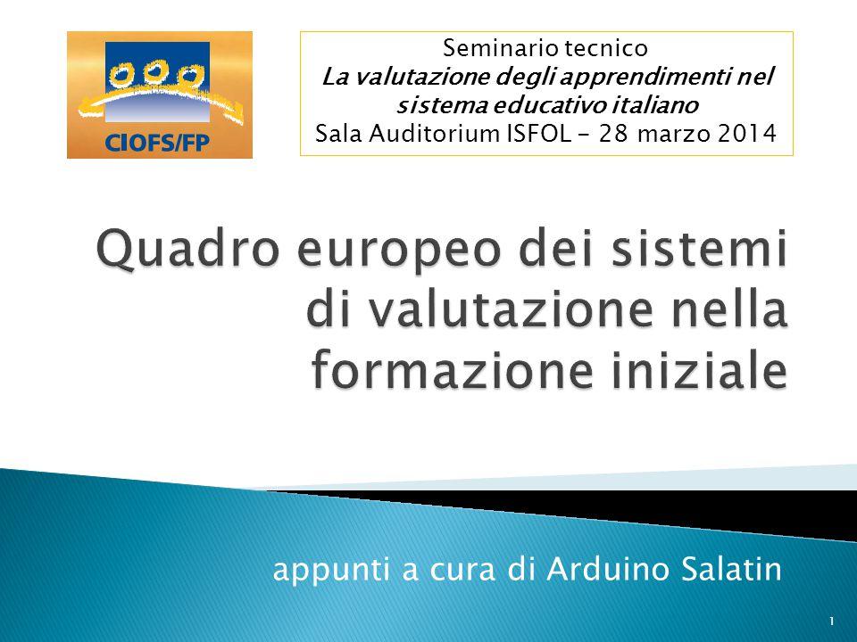 Quadro europeo dei sistemi di valutazione nella formazione iniziale