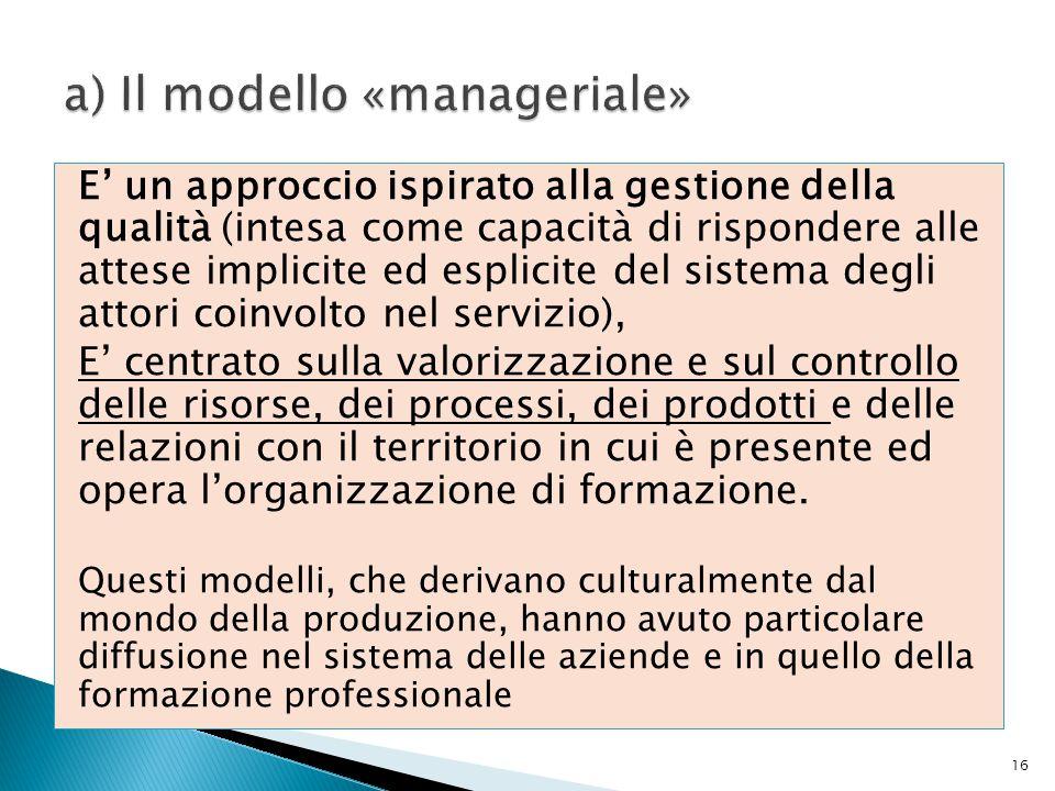 a) Il modello «manageriale»