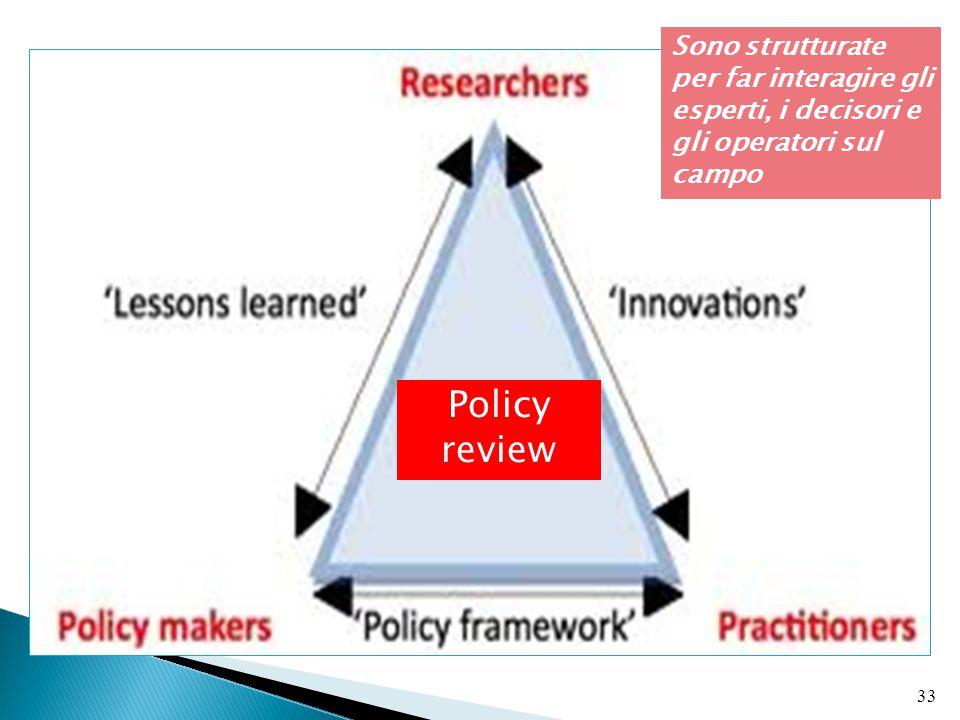 Sono strutturate per far interagire gli esperti, i decisori e gli operatori sul campo